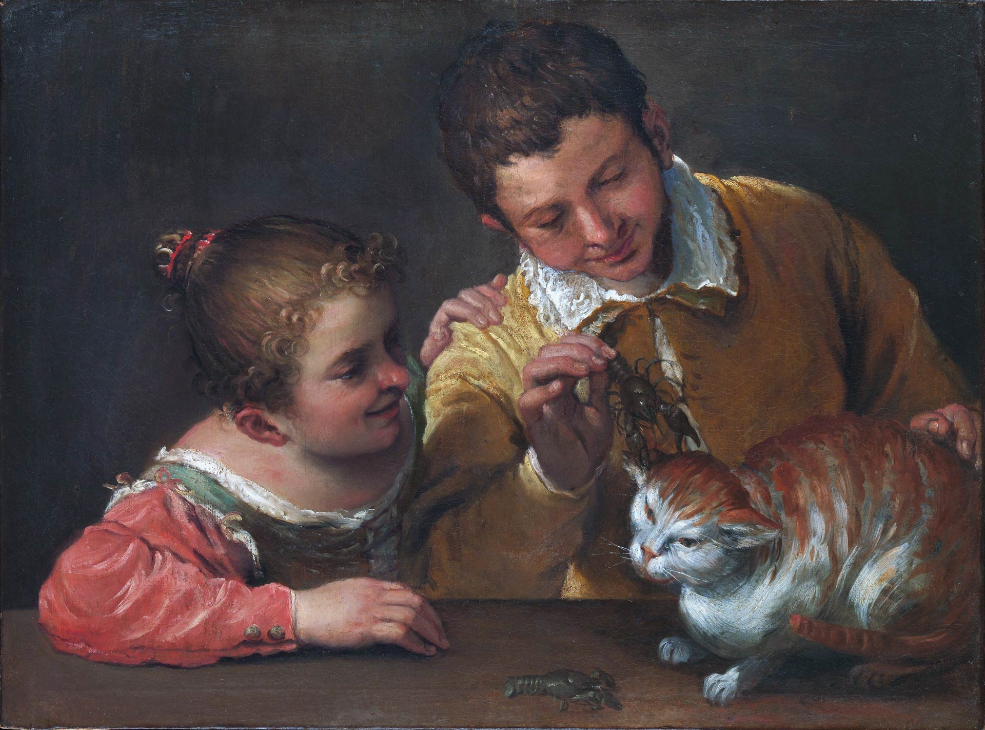 Annibale Carracci, Two Children Teasing a Cat